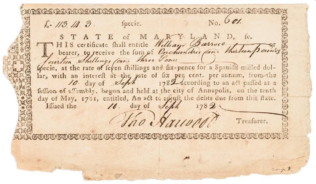 1782 MD. Rev War Bond Endorsed, Archibald Patison