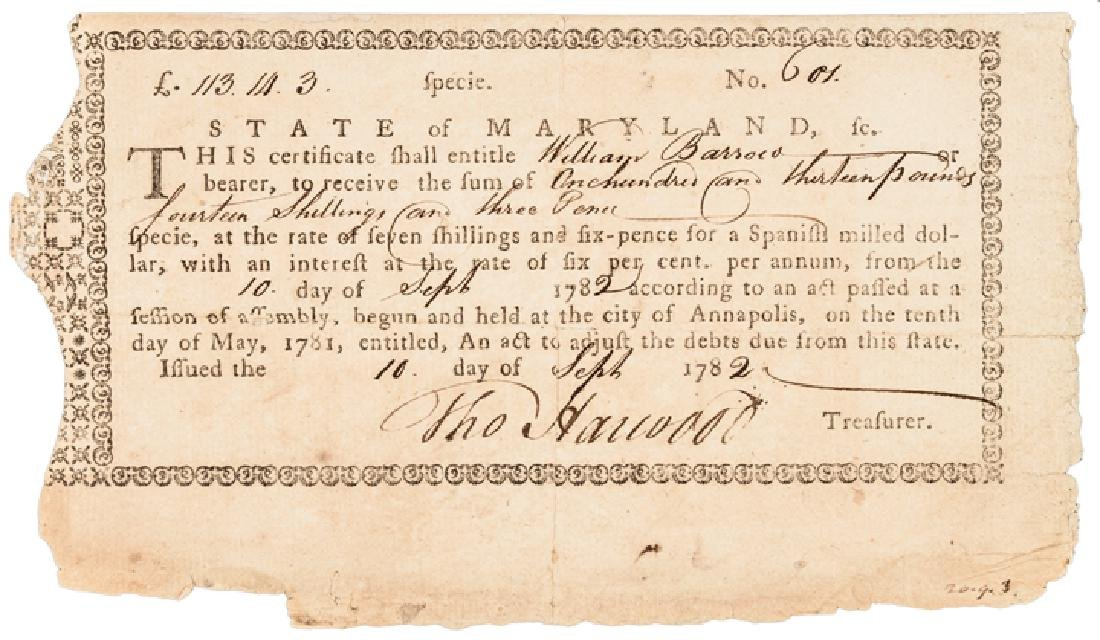 1782 MD. Rev War Bond Endorsed, Archibald Patison