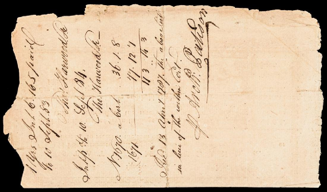 1782 MD. Rev War Bond Endorsed, Archibald Patison - 2