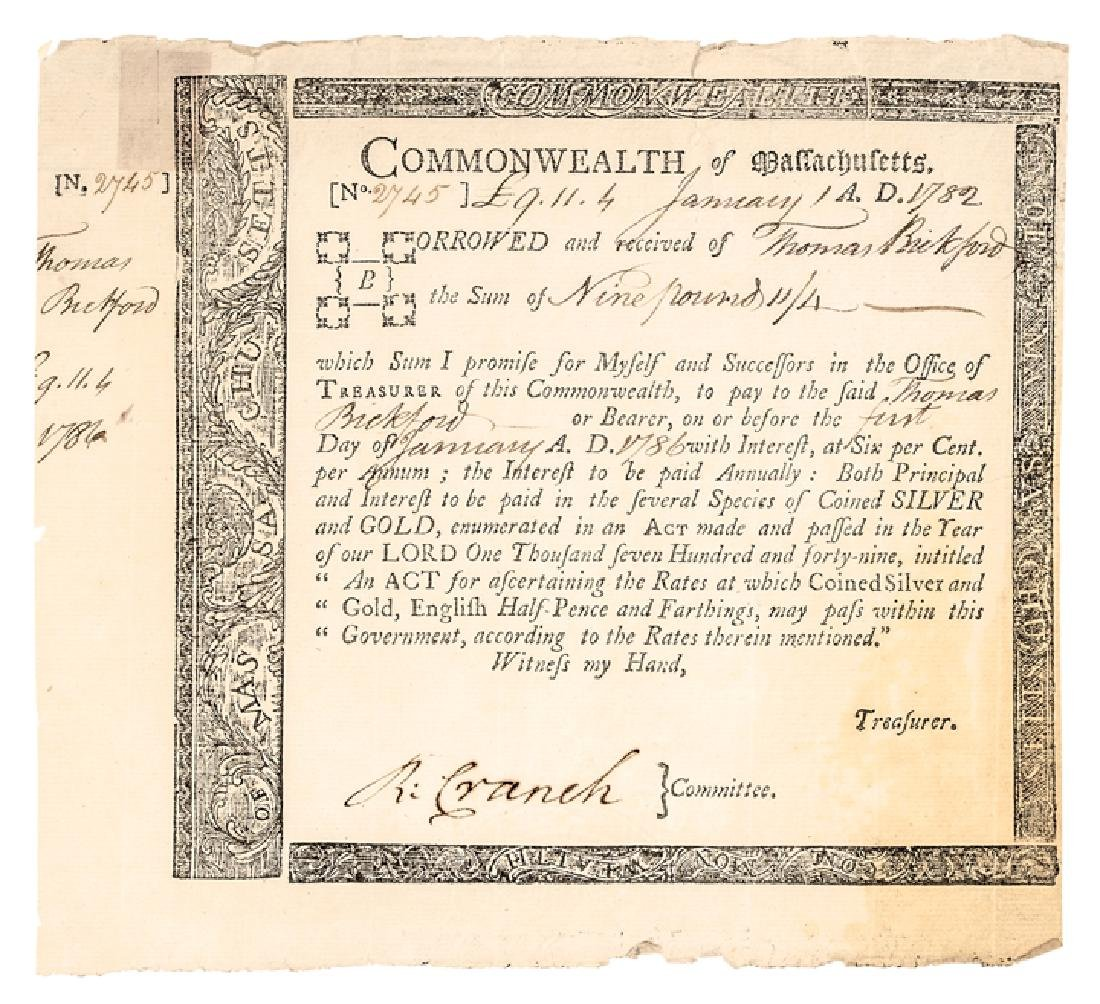 1782 Rev. War Mass Loan Cert Anderson MA-31, R-6