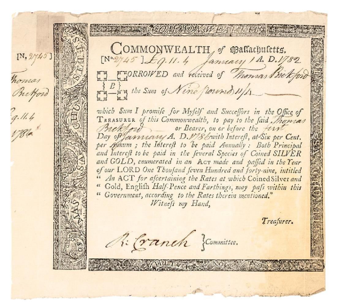 1782 Rev. War Mass Loan Cert Anderson MA-31, R-6
