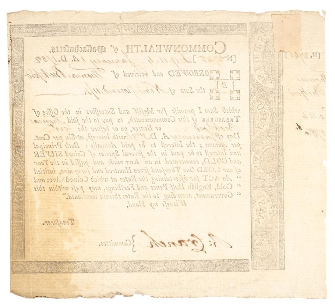 1782 Rev. War Mass Loan Cert Anderson MA-31, R-6 - 2