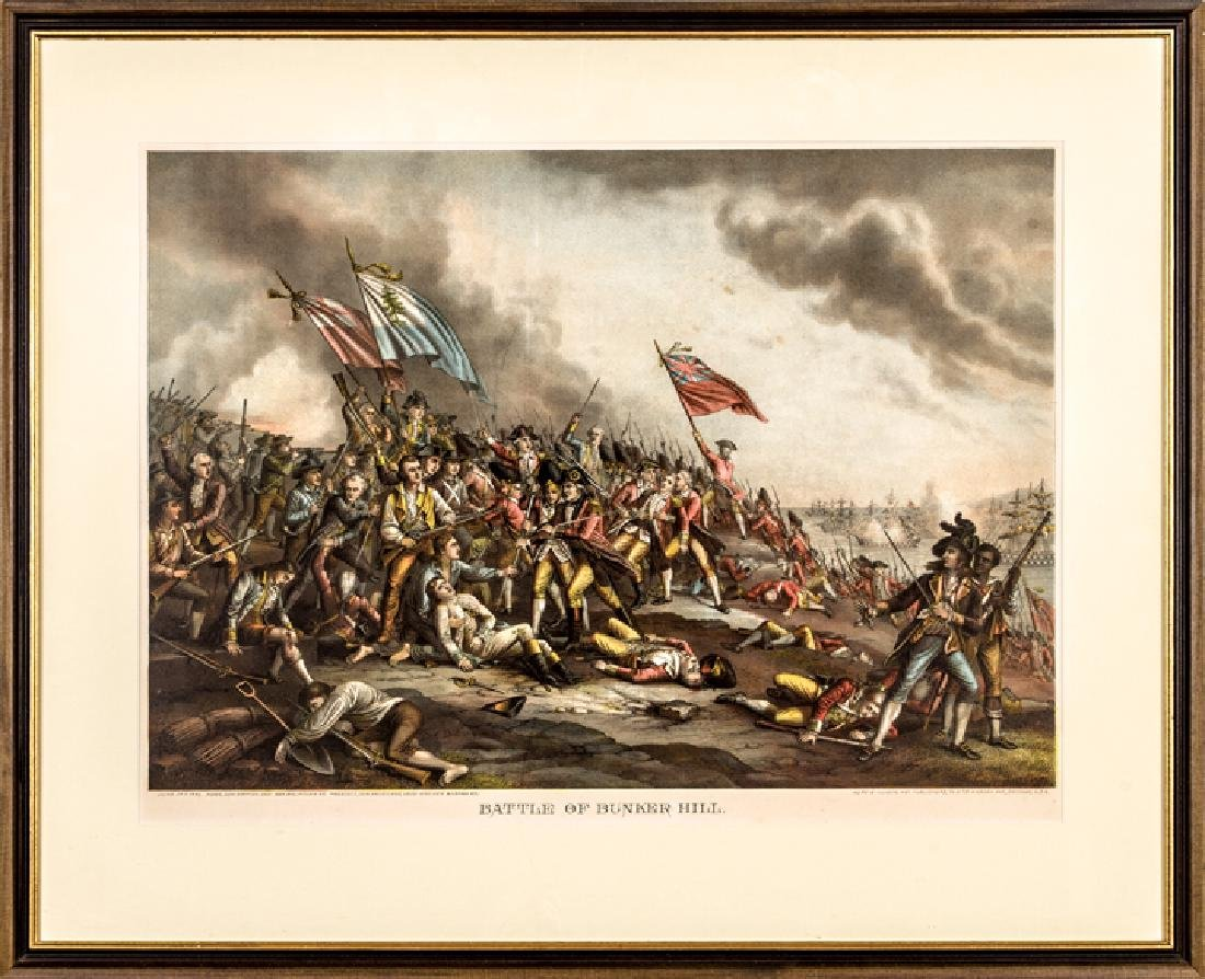 c. 1880 Battle of Bunker Hill, Color Lithograph