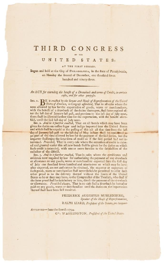 1794 President George Washington US ACT Approved