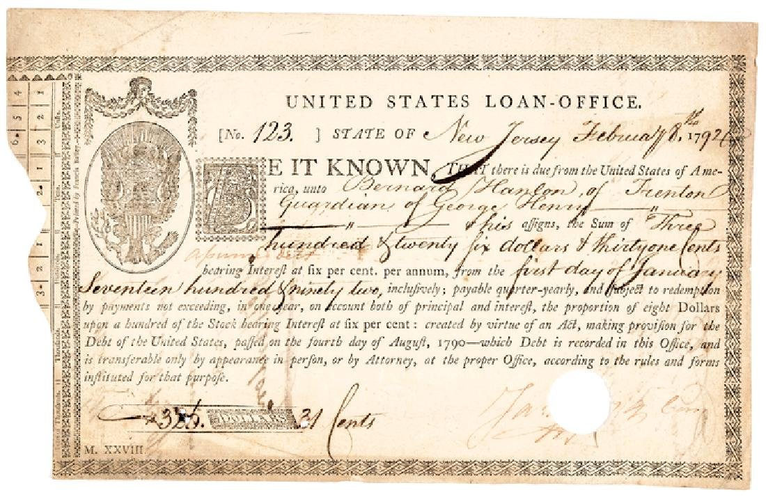 1790 United States Loan Certificate By Congress