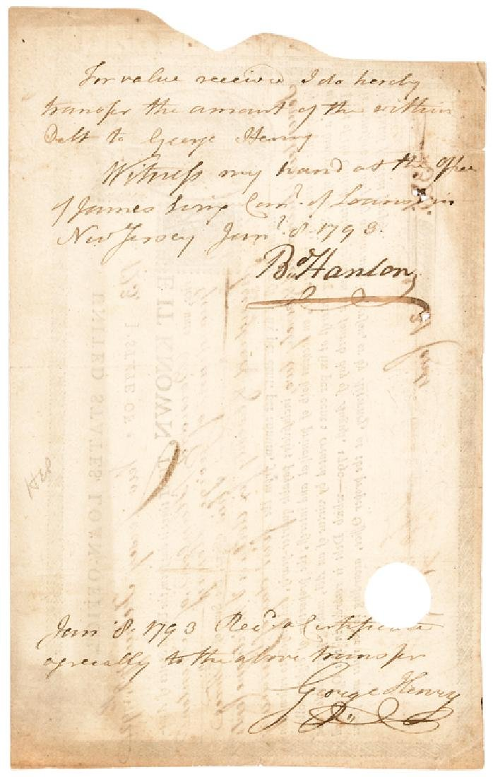 1790 United States Loan Certificate By Congress - 2