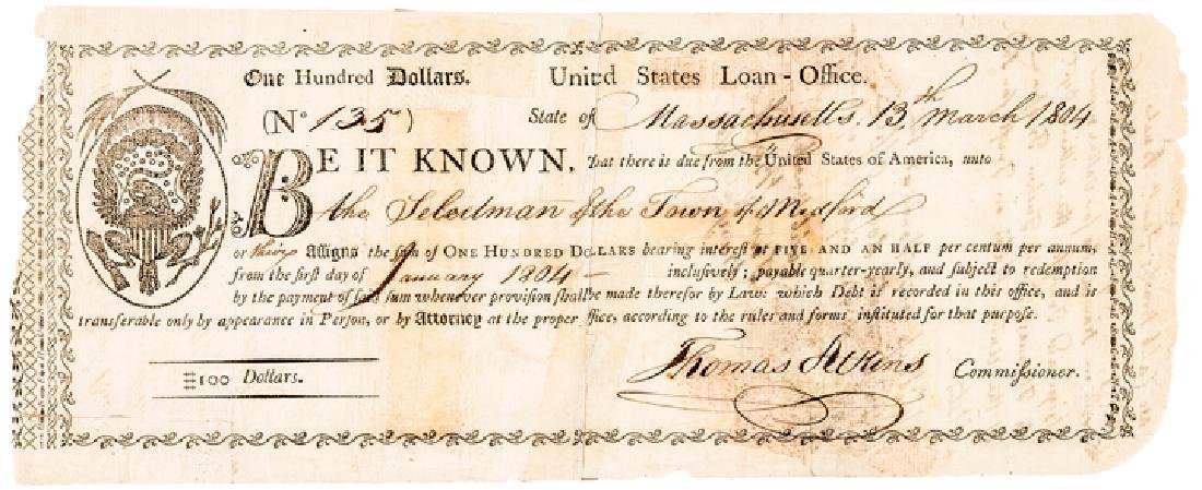 1795 Unique United States Loan Office Certificate