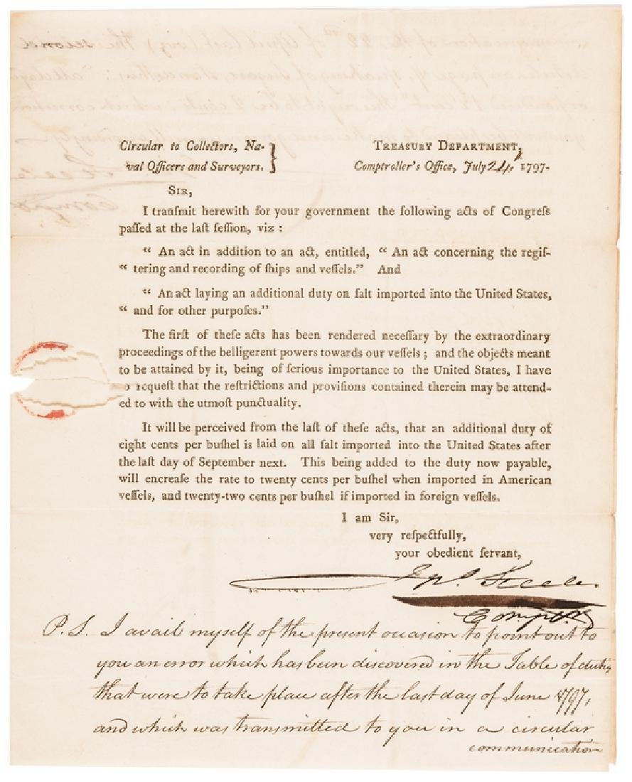 1797 Treasury Depart. Circular ACTS of Congress!