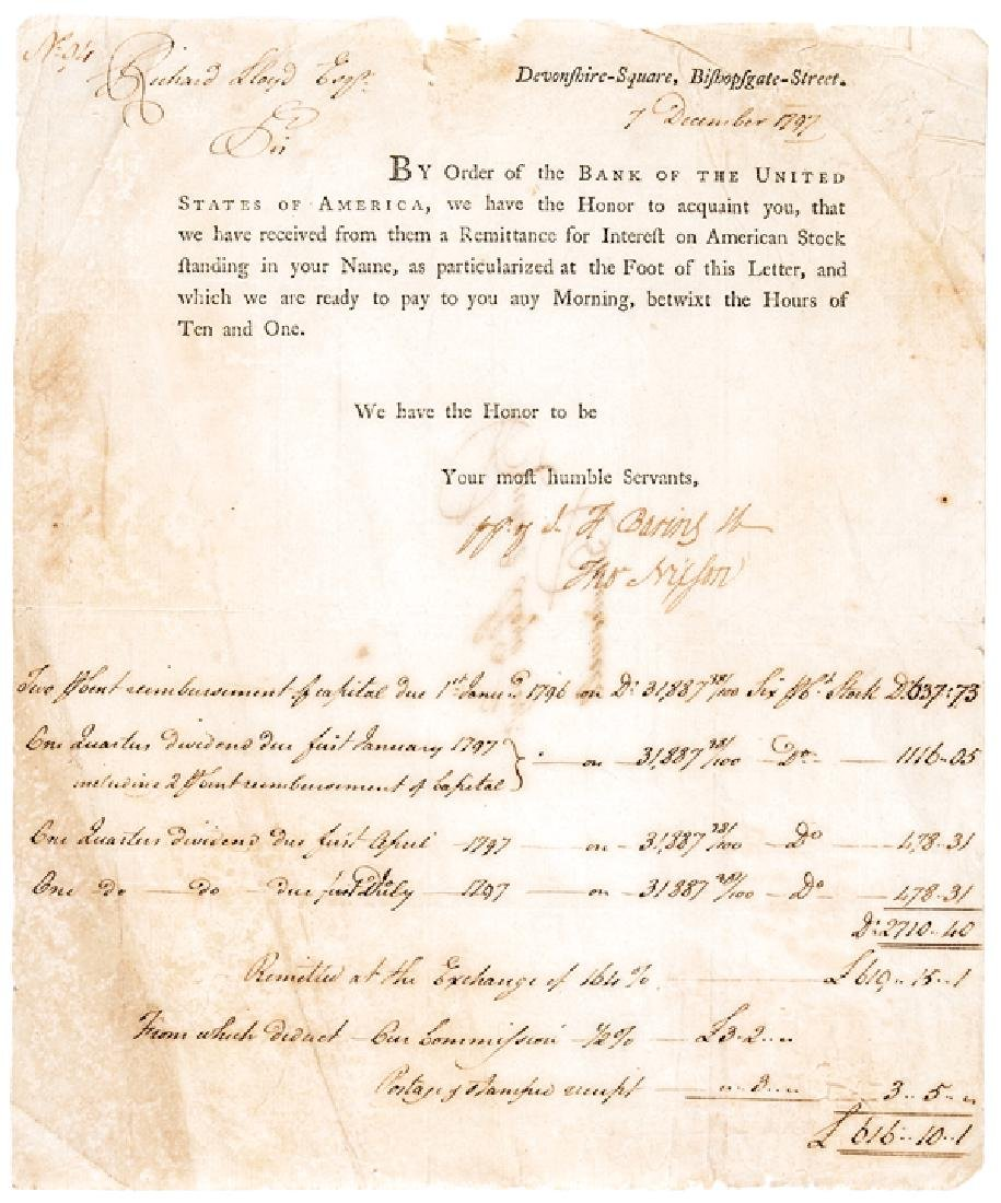1797 First Bank of US Letter Baring Brothers Bank
