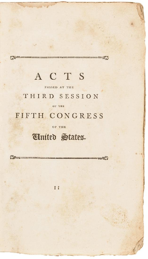 1799 Acts of the United States Congress Imprint