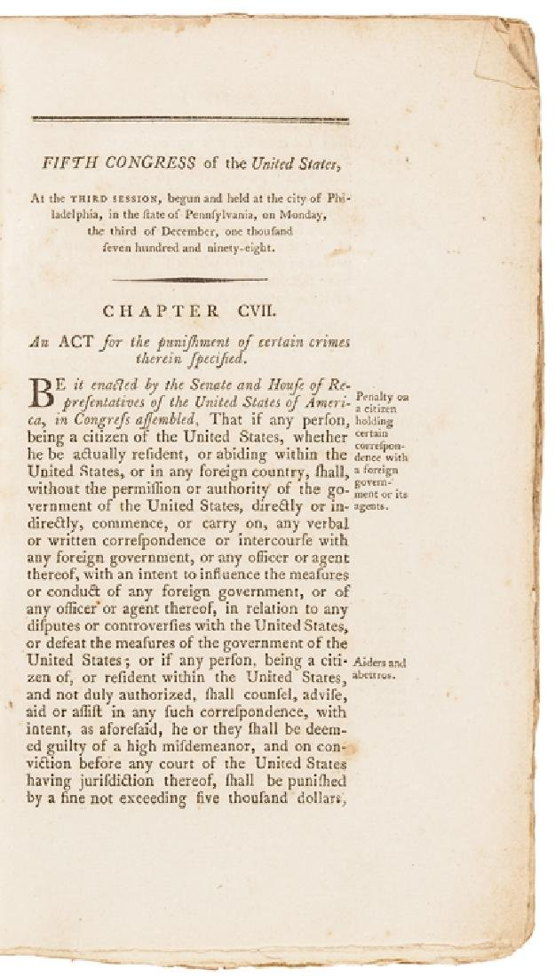 1799 Acts of the United States Congress Imprint - 3