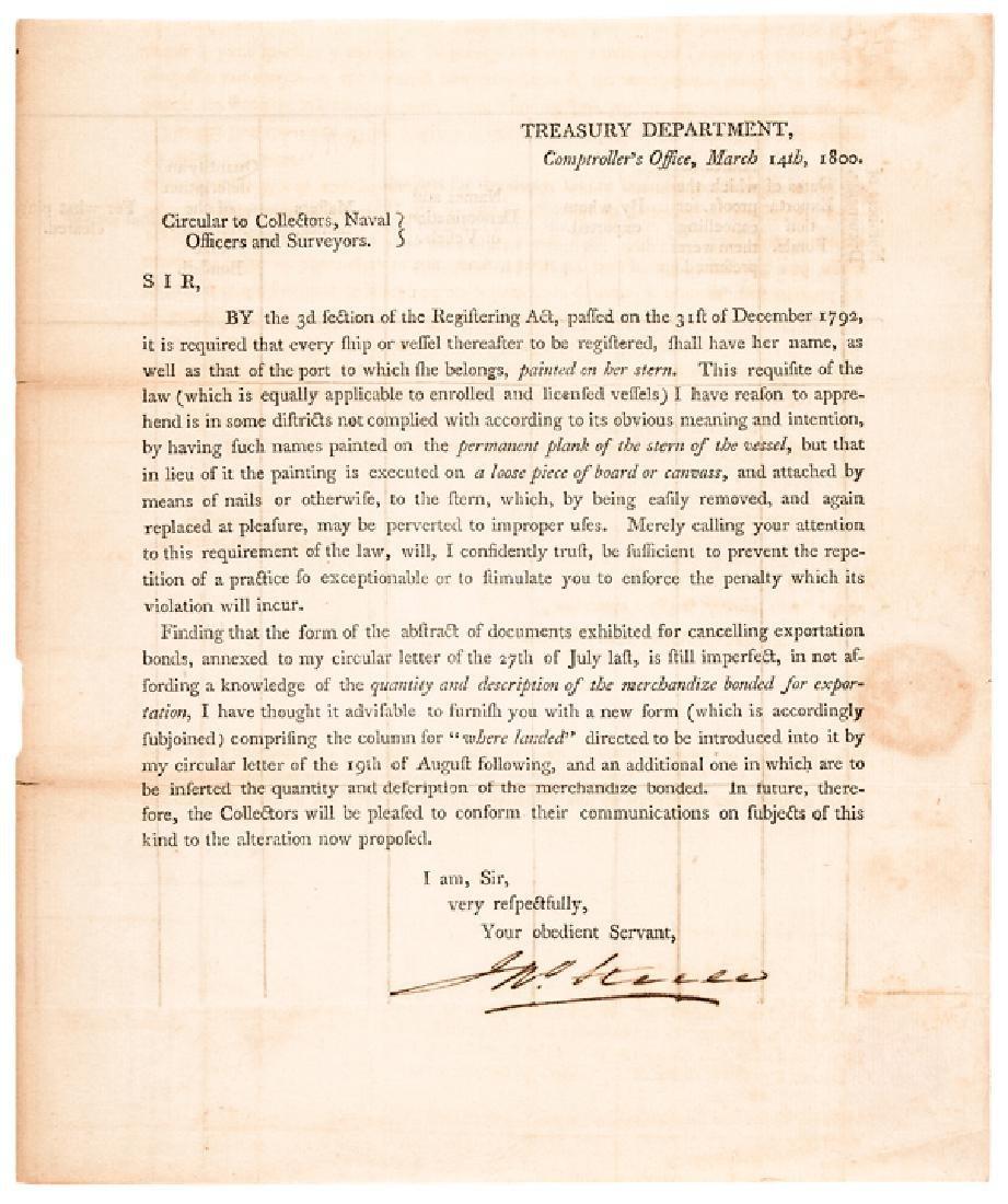 1800 Treasury Depart. Circular Ships Registration