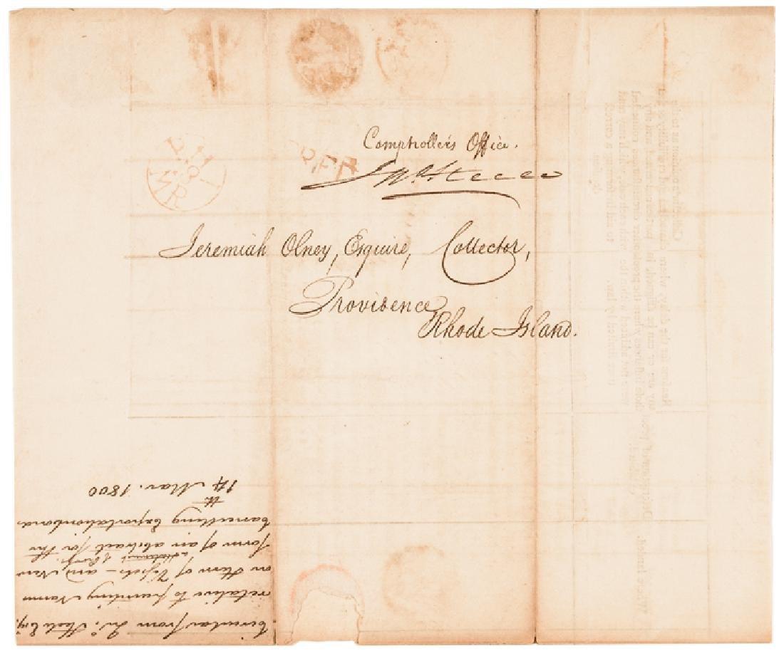 1800 Treasury Depart. Circular Ships Registration - 2