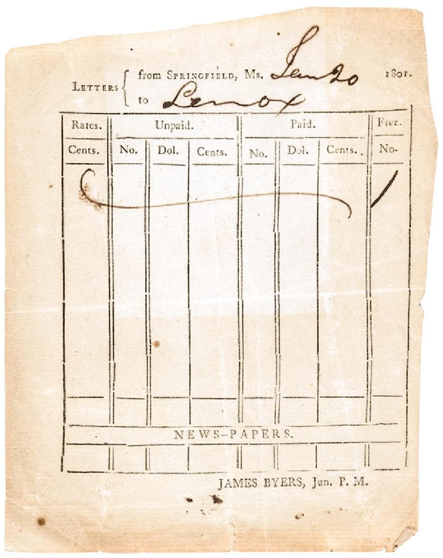 1801 Partially-Printed Postmaster Record Form