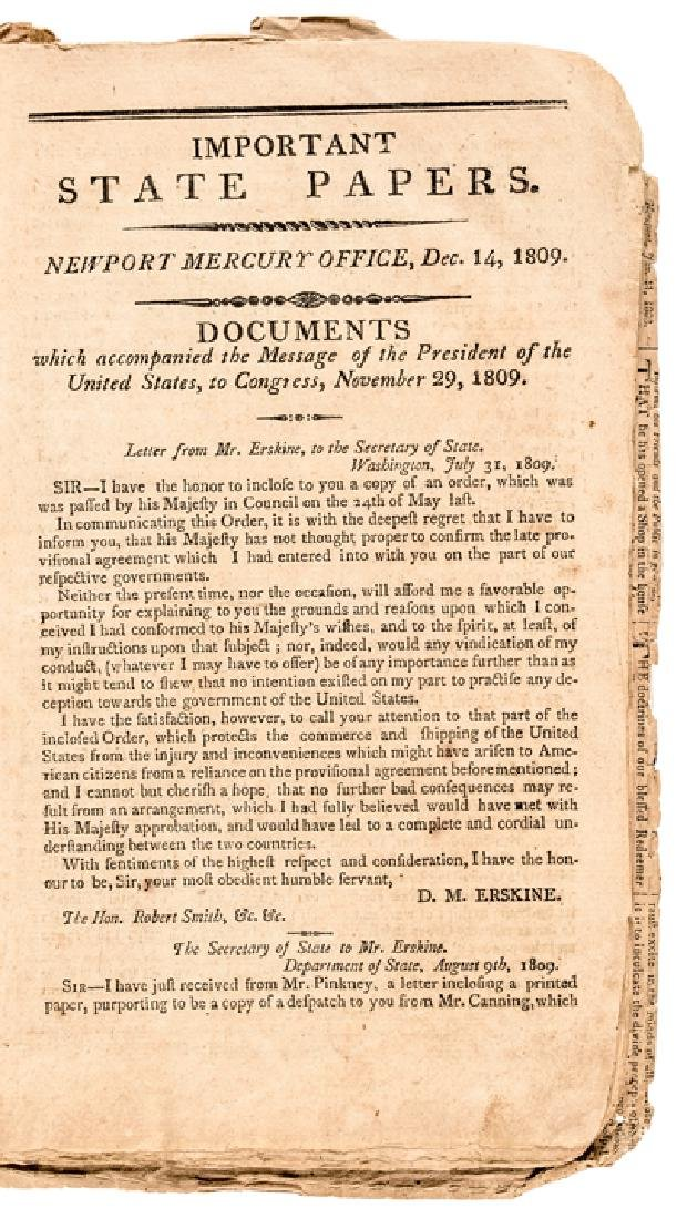 1809 Imprint: MESSAGE TO THE PRESIDENT + CONGRESS