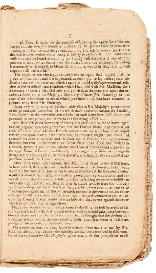 1809 Imprint: MESSAGE TO THE PRESIDENT + CONGRESS - 2