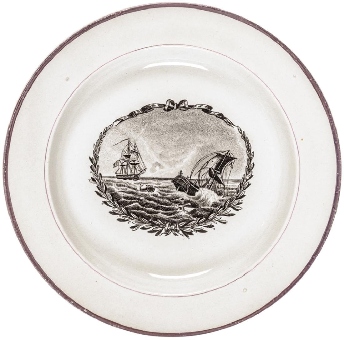 War of 1812 Naval Battle Strawberry Luster Plate