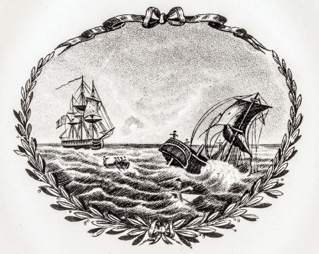 War of 1812 Naval Battle Strawberry Luster Plate - 3