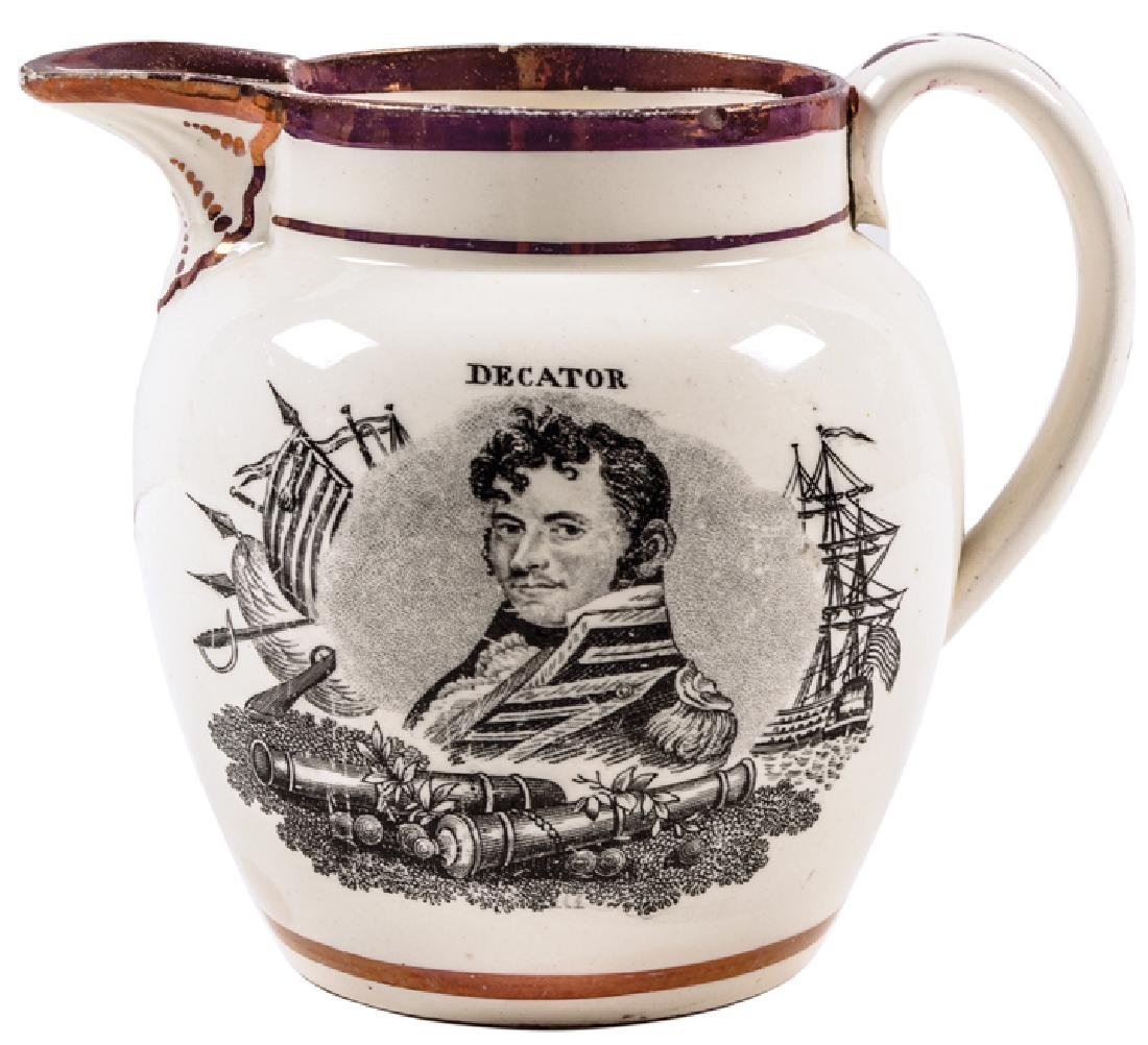 War of 1812 Strawberry Lusterware Naval Pitcher