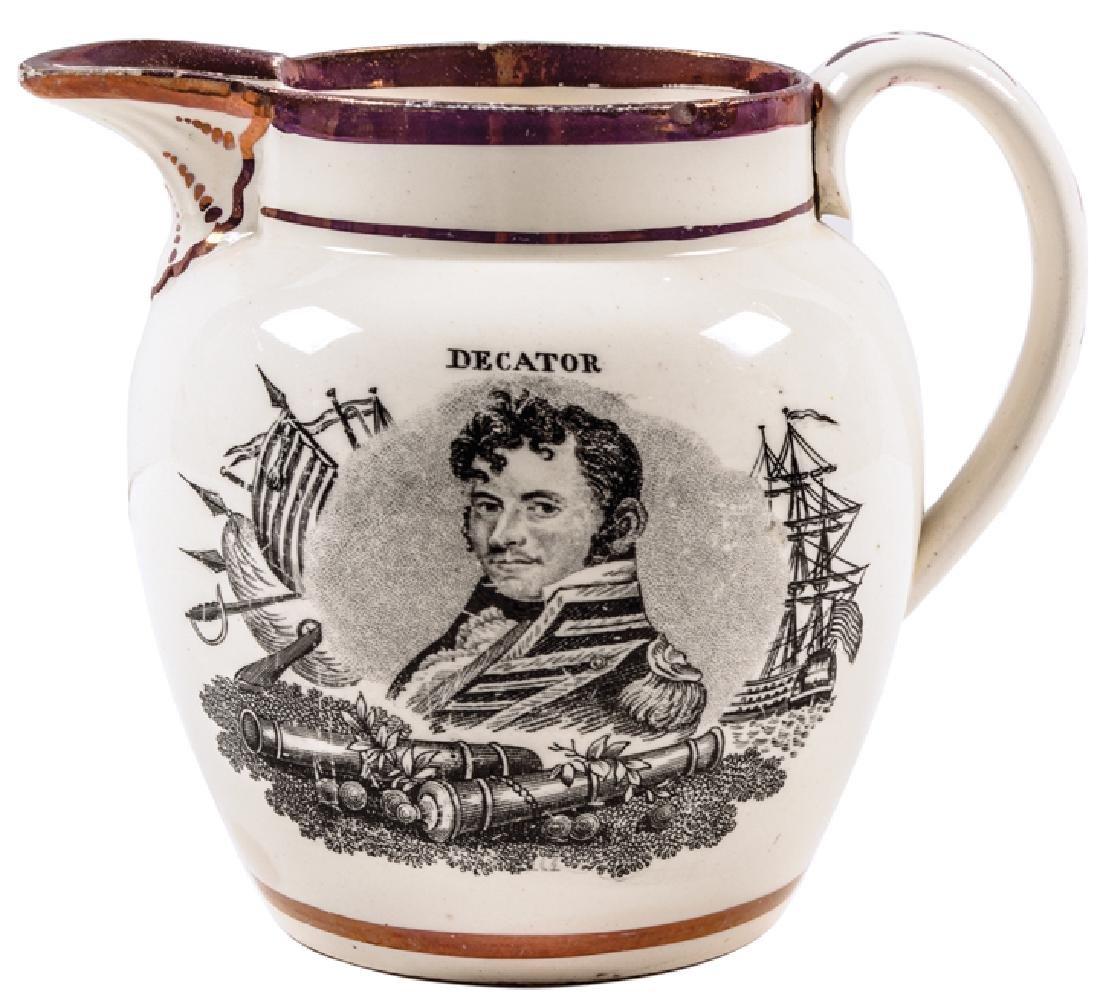 War of 1812 Strawberry Lusterware Naval Pitcher