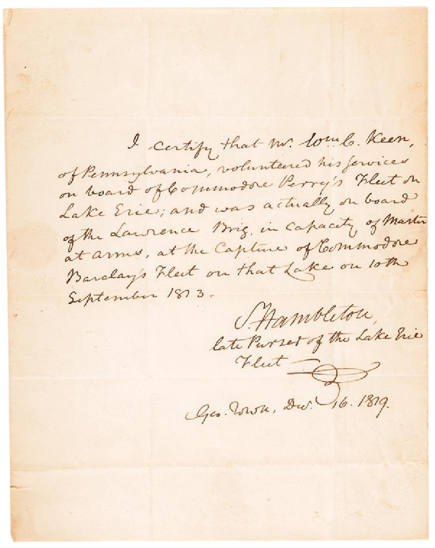 1819 Samuel Hambleton ALS Confirming At Lake Erie