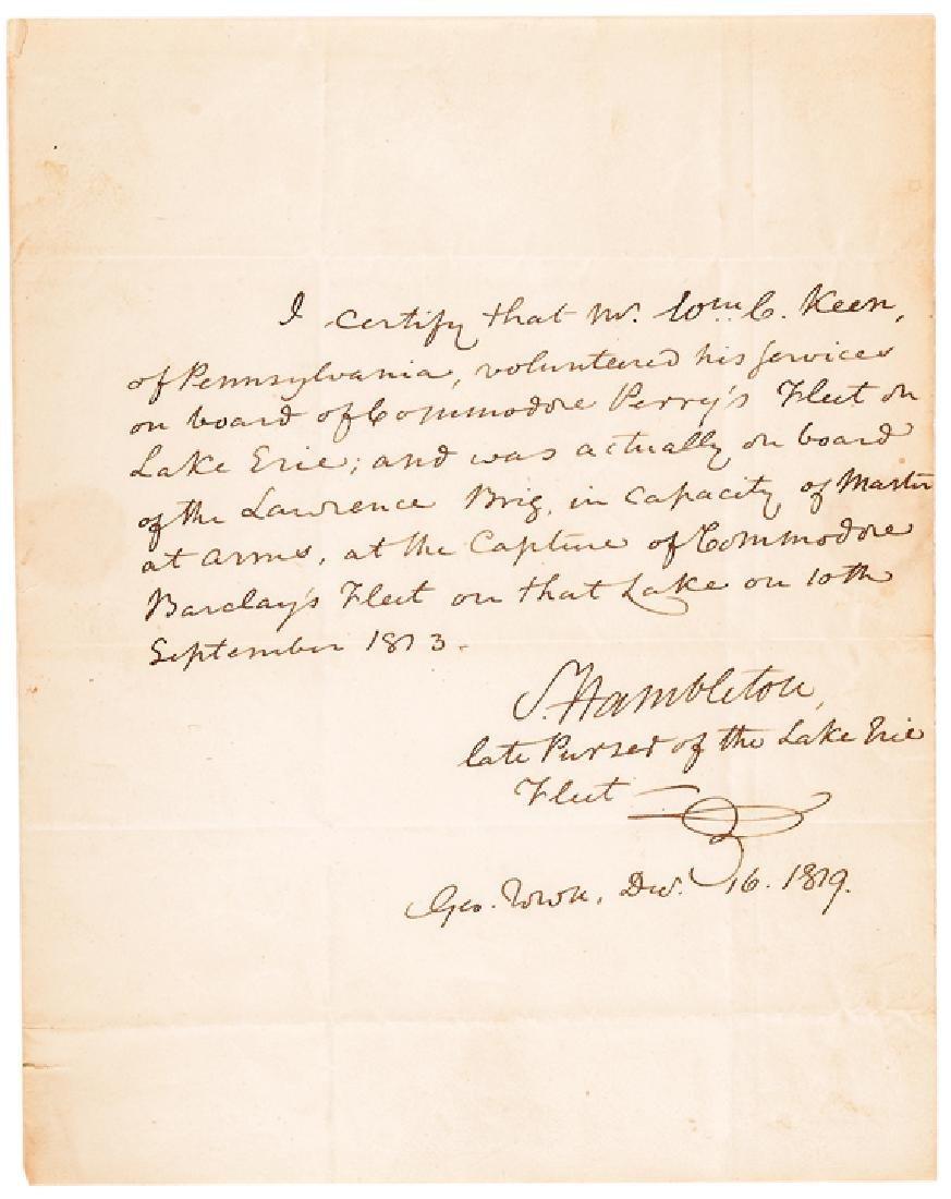 1819 Samuel Hambleton ALS Confirming At Lake Erie