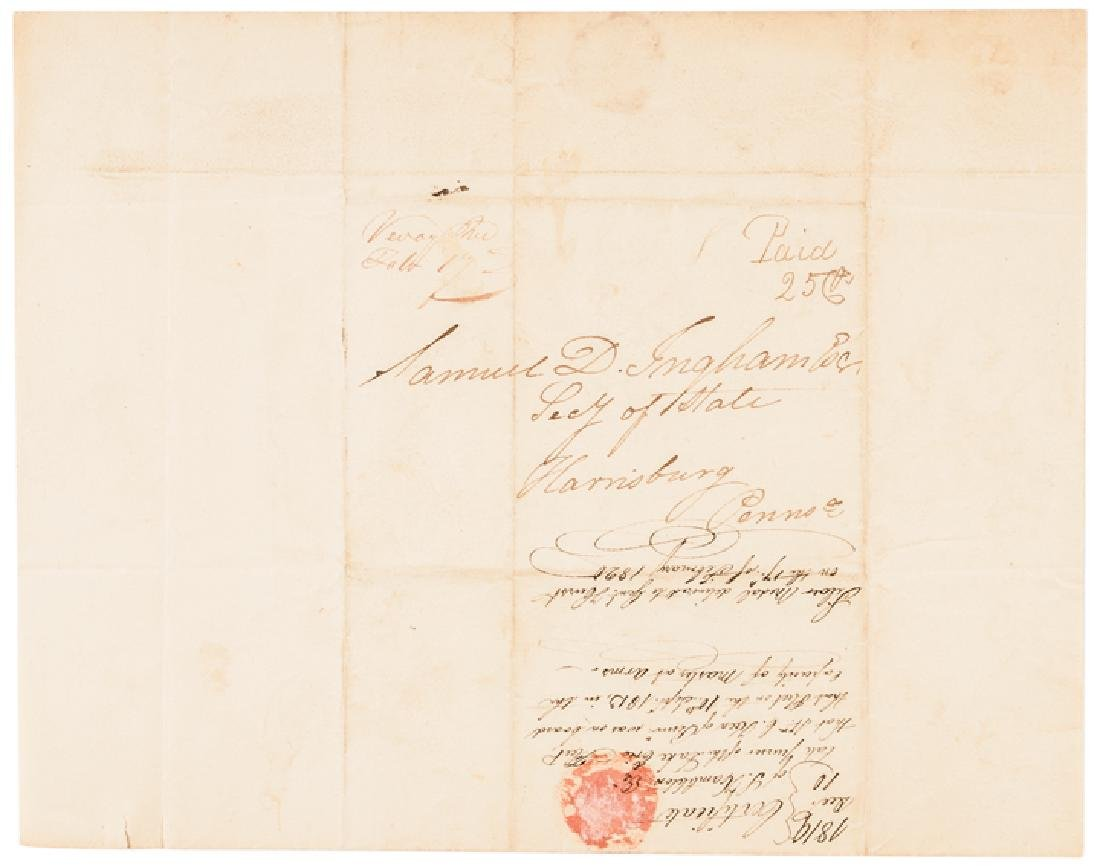 1819 Samuel Hambleton ALS Confirming At Lake Erie - 2