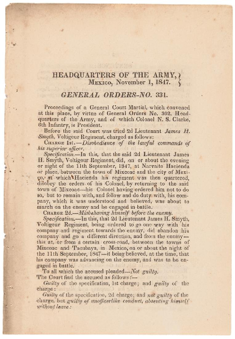 1847 HEADQUARTERS OF THE ARMY, MEXICO Orders