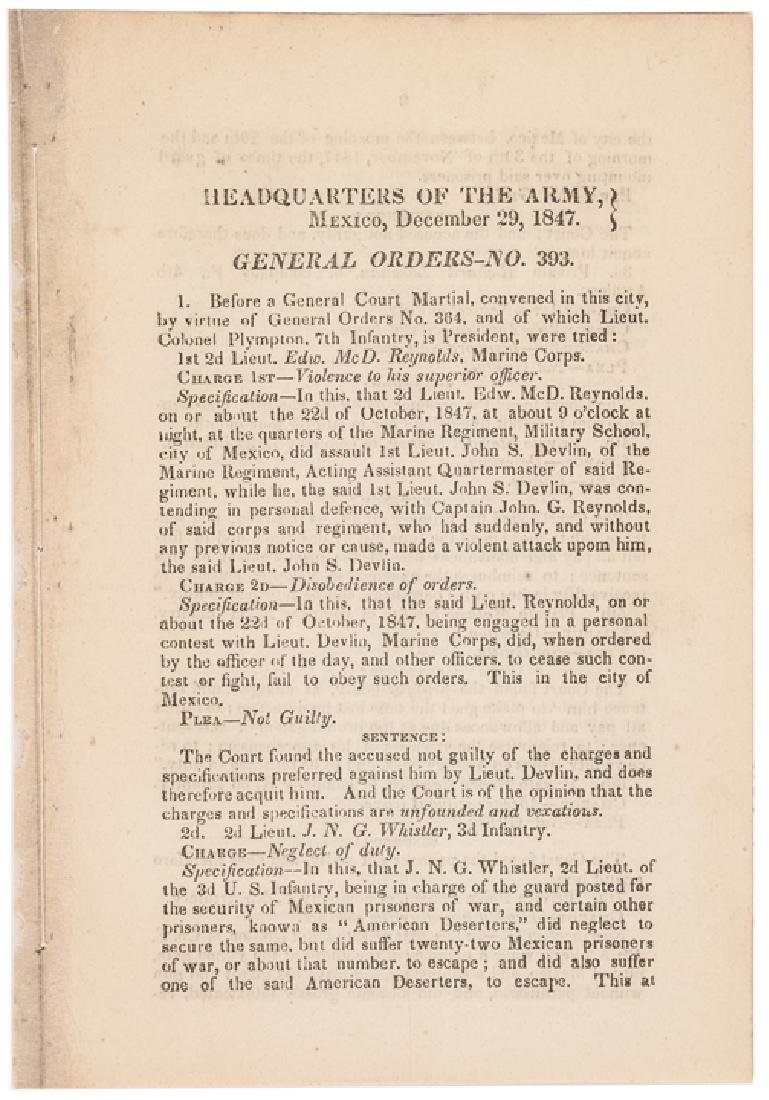 1847 Mexican-American War HEADQUARTERS ARMY Order