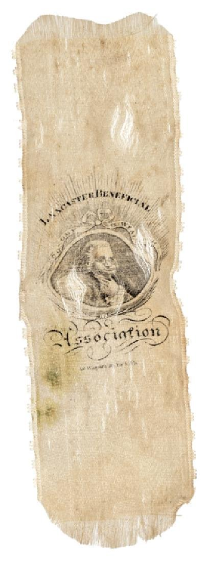 c. 1820 Benjamin Franklin Portrait Silk Ribbon