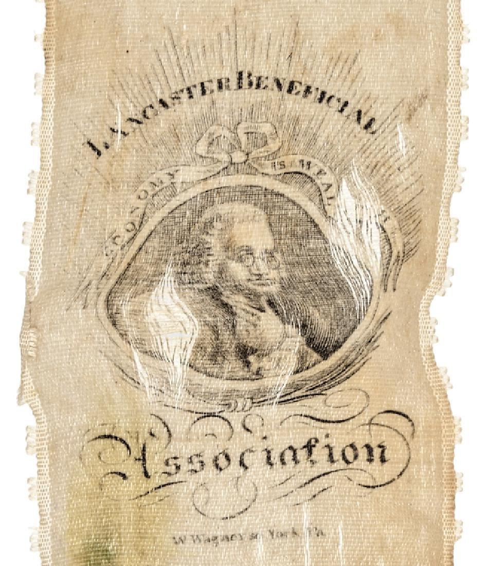 c. 1820 Benjamin Franklin Portrait Silk Ribbon - 3