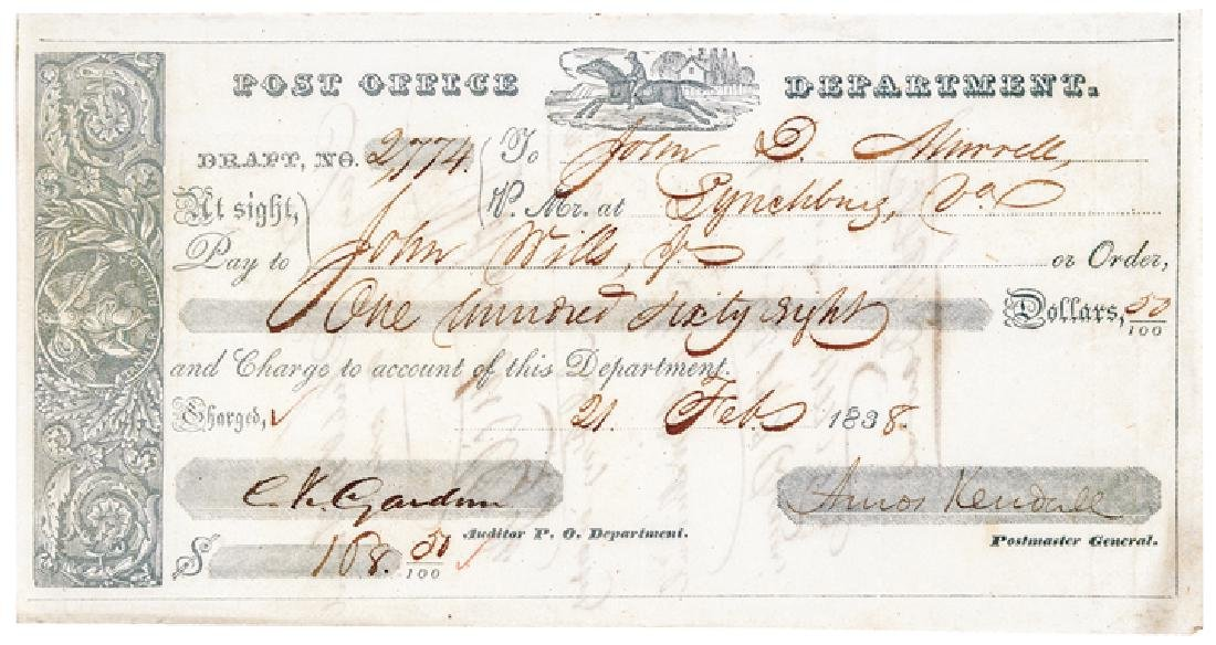 1837 Postal Express Rider Vignette Post Form