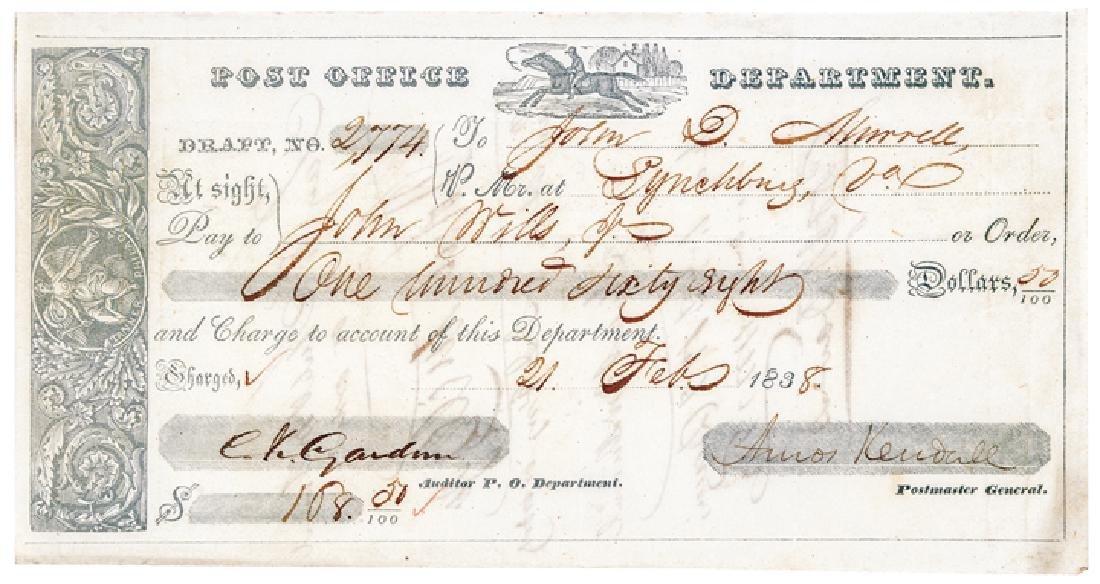 1837 Postal Express Rider Vignette Post Form
