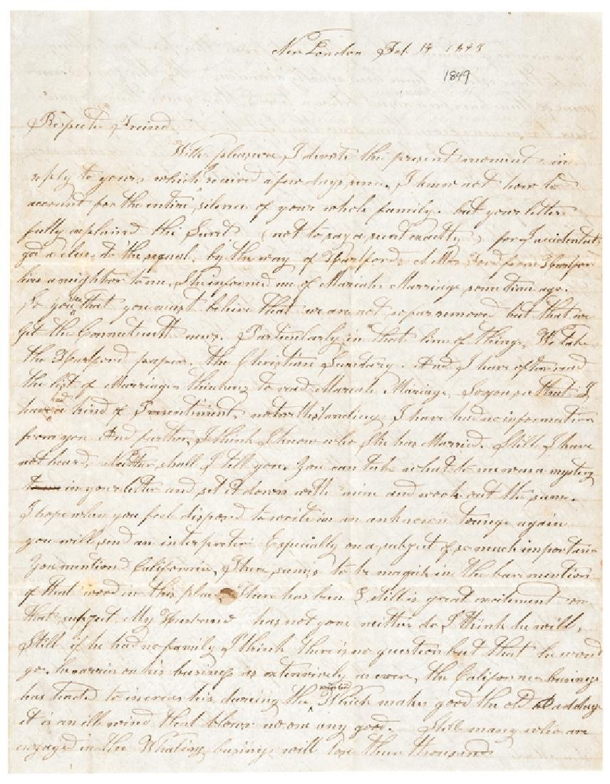 1849 Content Letter California Gold Rush +Whaling