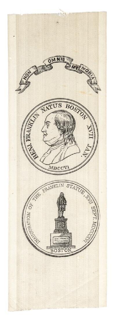 1856 BENJAMIN FRANKLIN Statue Boston SILK RIBBON