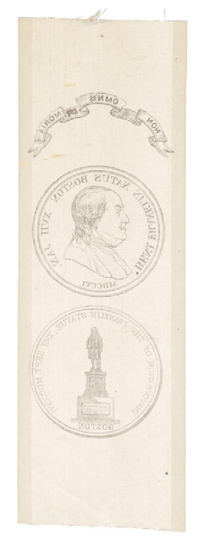 1856 BENJAMIN FRANKLIN Statue Boston SILK RIBBON - 2