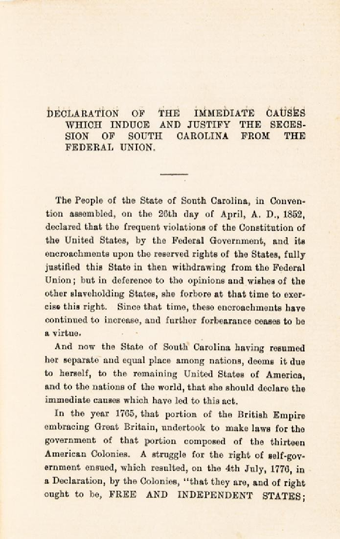 1860 Secession of South Carolina.. Federal Union - 2
