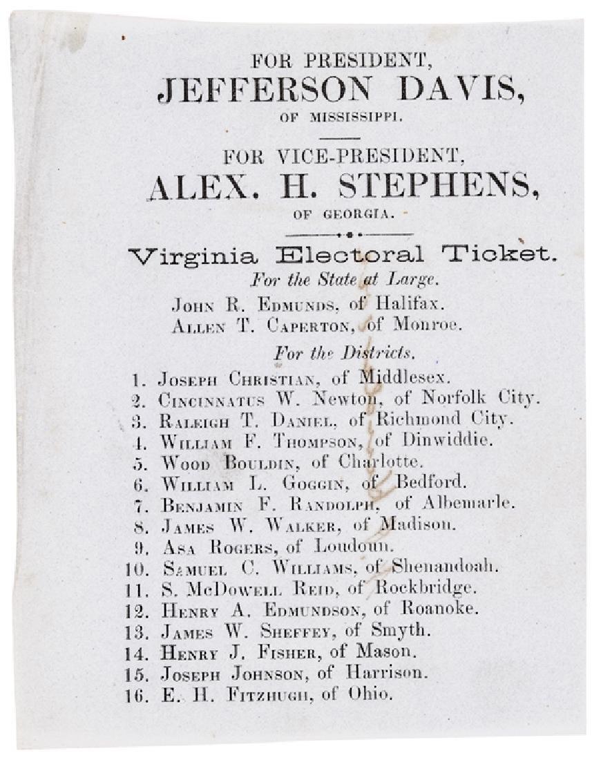 1861 Jefferson Davis Confederate Electoral Ticket