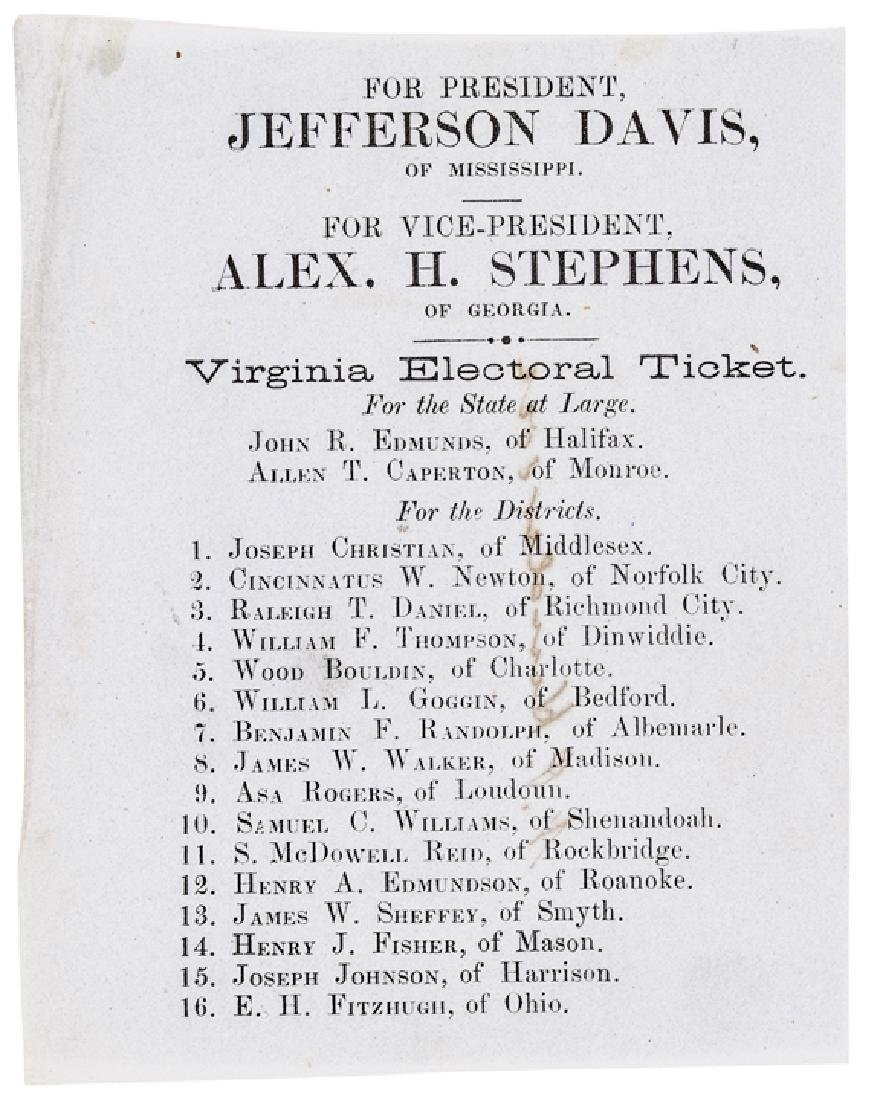1861 Jefferson Davis Confederate Electoral Ticket