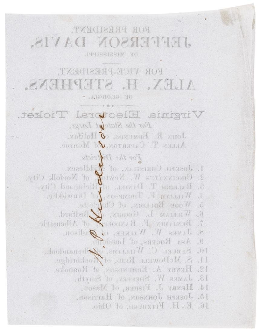 1861 Jefferson Davis Confederate Electoral Ticket - 2