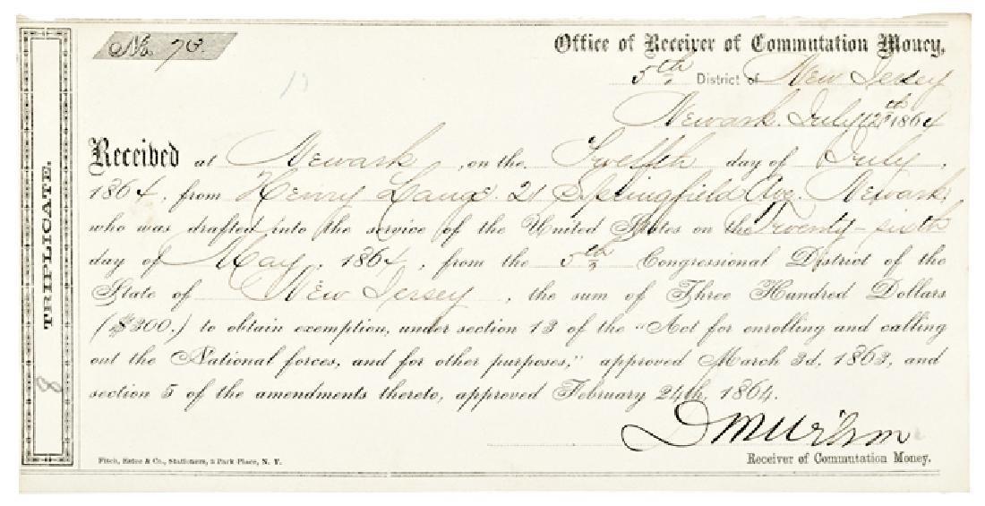 1864 $300 Commutation Money Civil War Draft !
