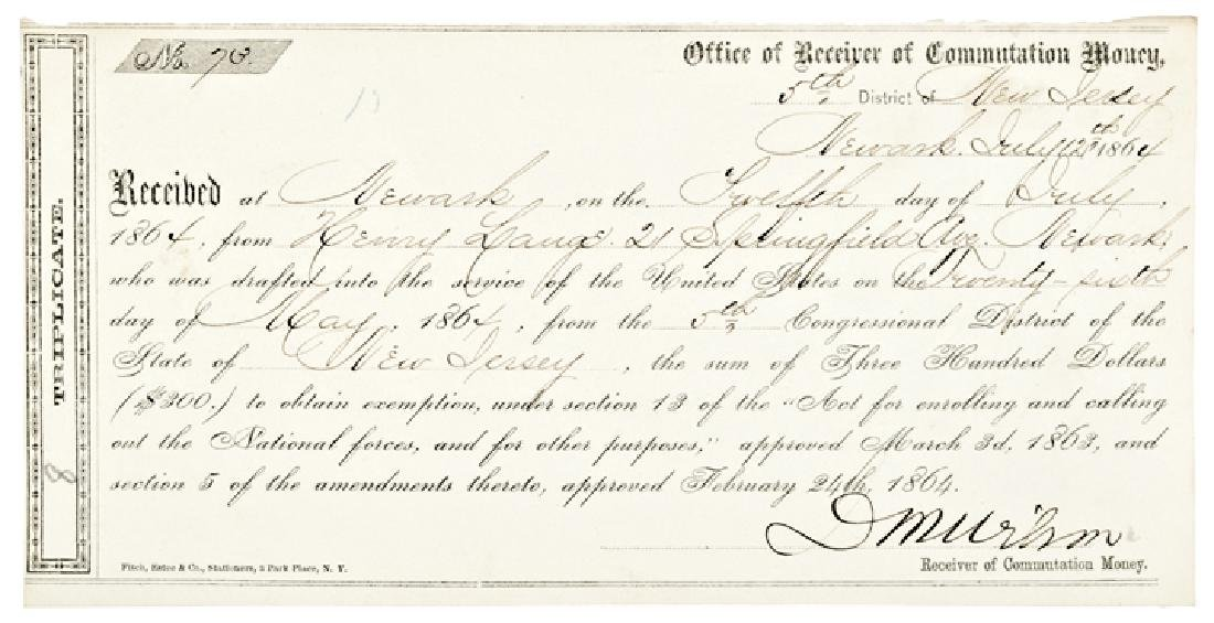 1864 $300 Commutation Money Civil War Draft !