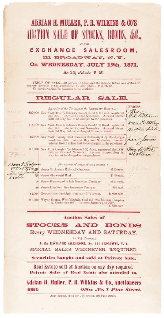 1871 Civil War Bonds New York Auction Broadside