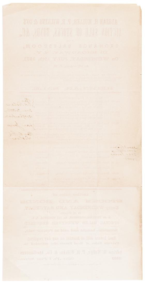 1871 Civil War Bonds New York Auction Broadside - 2