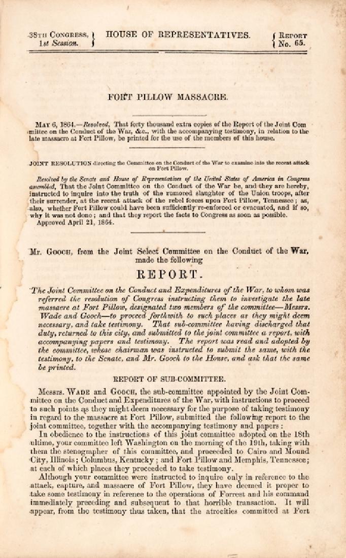 1864 Civil War Period Fort Pillow Massacre Book