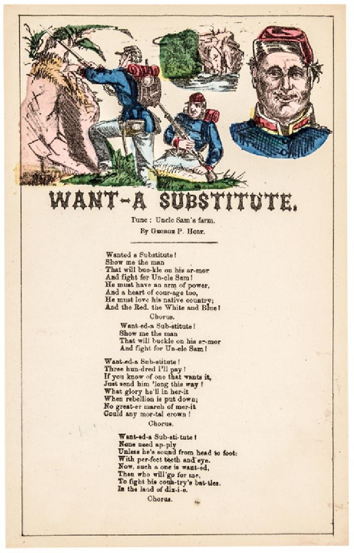 Want-A Substitute Civil War Colored Song Sheet