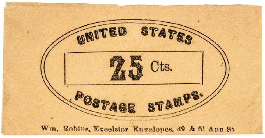 U.S. Postage Stamp Envelope Wm Robins 25 Cents NY