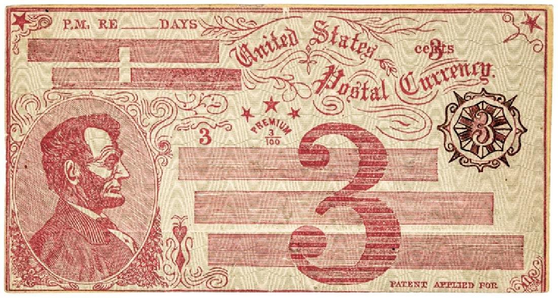 1869 Fisk Mills 3¢ ESSAY Postal Currency Envelope