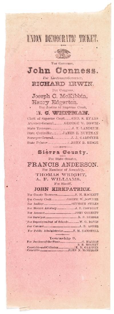1861 California Gubernatorial Election Ballot !