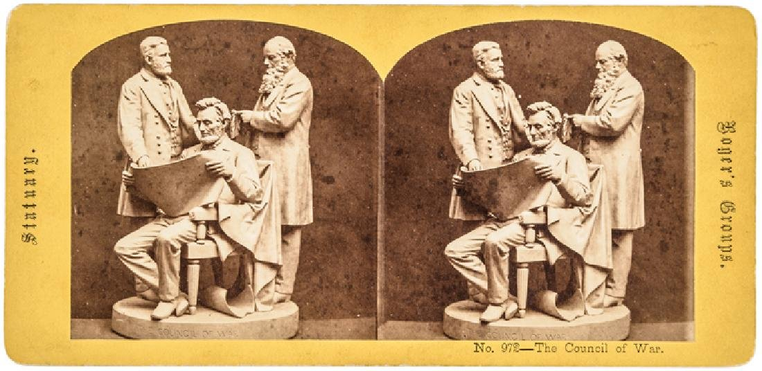 Stereoview The Council of War John Rogers Statue